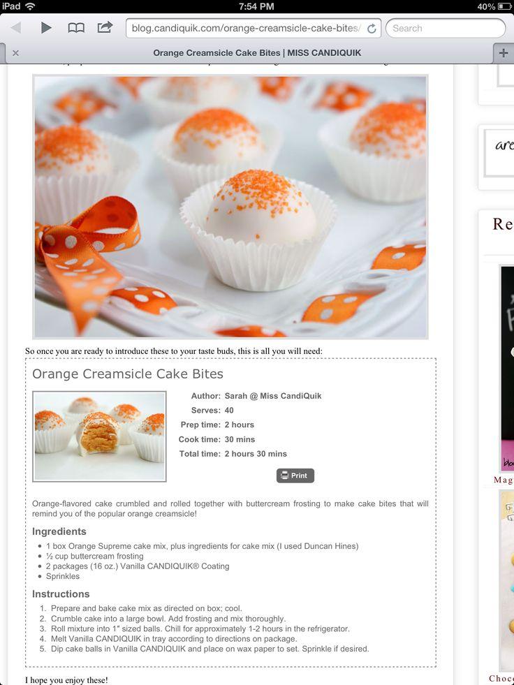 Orange cream sickle cake pops | Products that I love | Pinterest