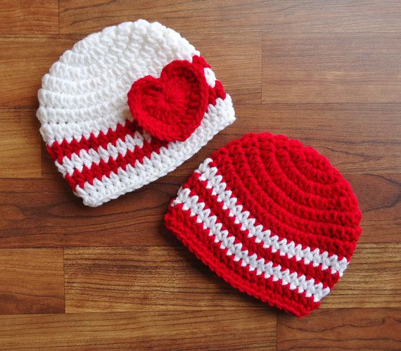 Crochet Valentine Hat : Crocheted Baby Boy/Girl Twins Valentines Day Hat Set, Red & White ...