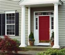 Red door, grey siding, black shutters!
