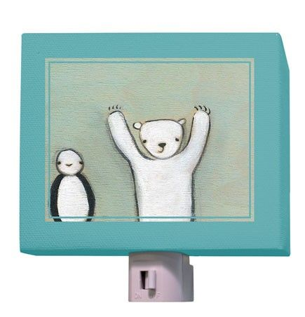 """Penguin and Polar Bear"" kids night light by Creative Thursday by Marisa for Oopsy daisy, Fine Art for Kids $25"