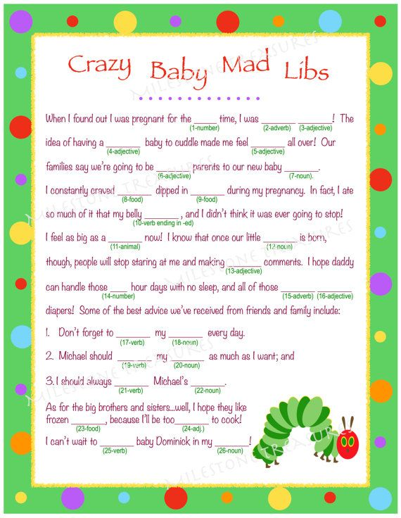 personalized crazy baby mad libs for digital download