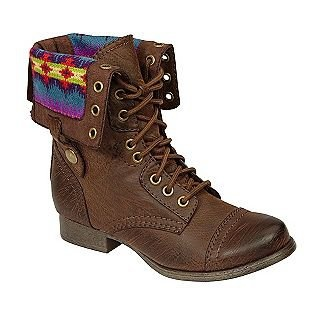 Women's Jaclyn Cuffed Blanket Combat Boot - Brown-Shoes-Womens-Boots