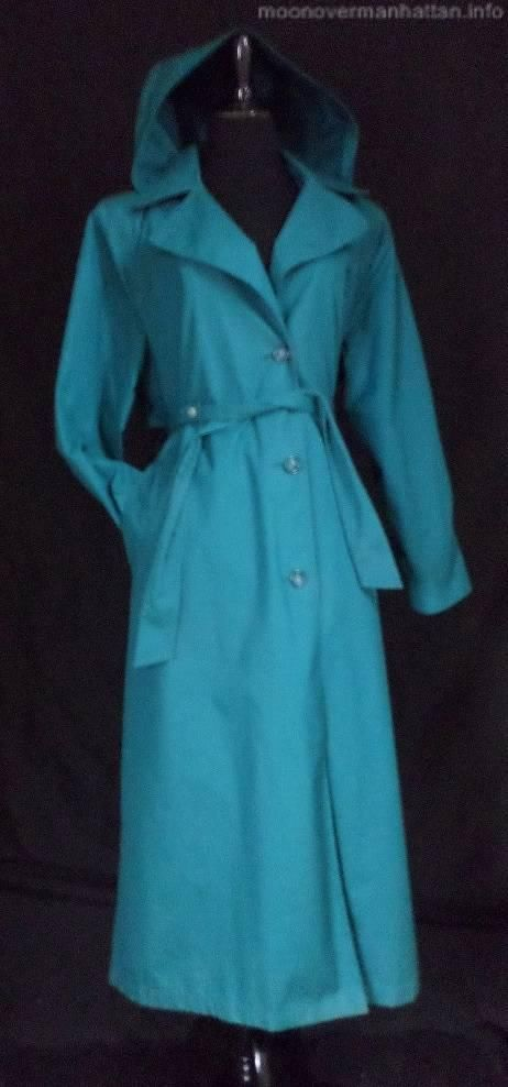 Womens coat TEAL BLUE HOODED TRENCH COAT classic spy ...