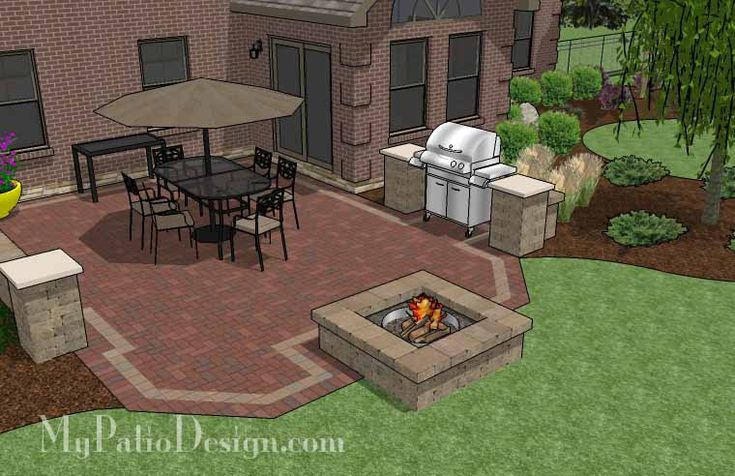 Brick Patio with Fire Pit Designs