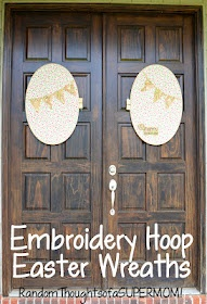 Wreaths from an embroidery hoop and fabric.