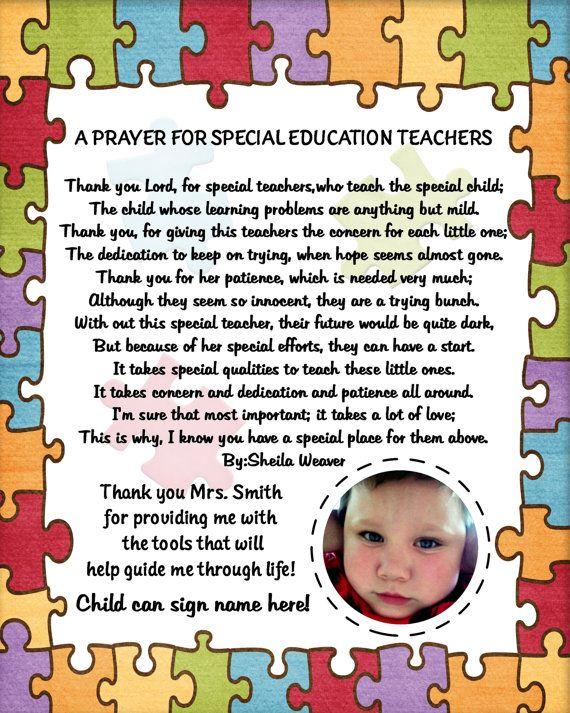 Teacher Appreciation Poem for a special needs teacher.