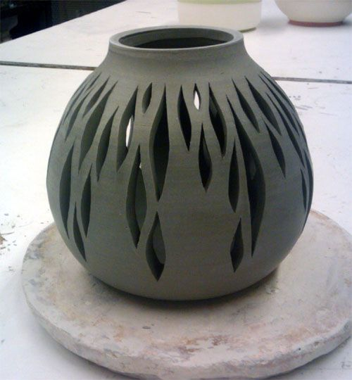 Slit vase clay pinterest for Clay pottery designs