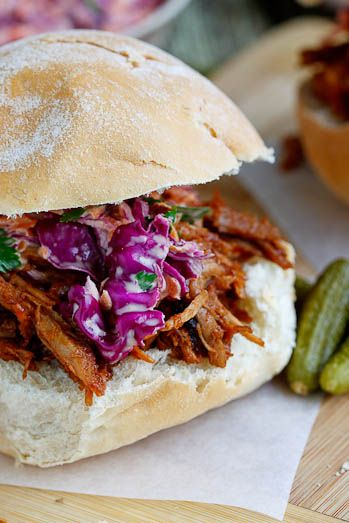 Pulled pork in BBQ sauce with home-made coleslaw