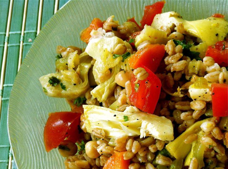 Mediterranean Farro Salad with Artichokes and Chickpeas