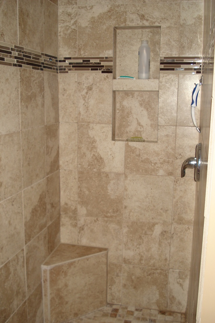 Tan Tile Shower Stall