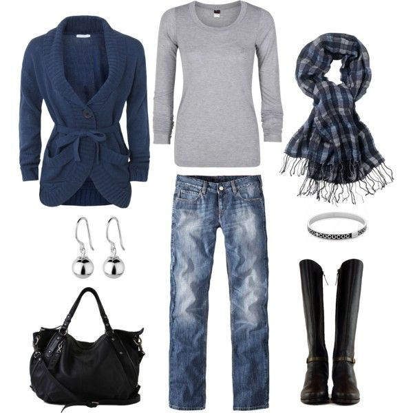 """""""Blue, Gray and Black"""" by bluehydrangea on Polyvore"""