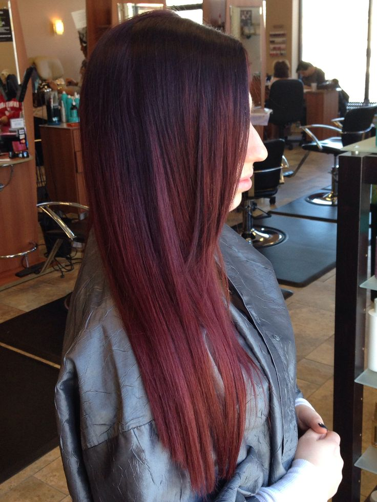 Red Violet Ombre hair Michelle @ Serenity Serenityhairandnails.com