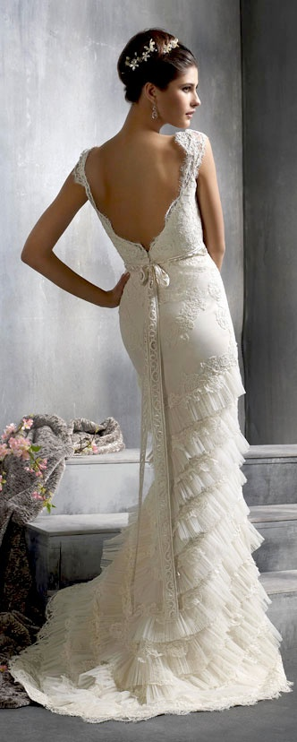 Backless wedding dress by lazaro lace mermaid trumpet for Backless satin wedding dress