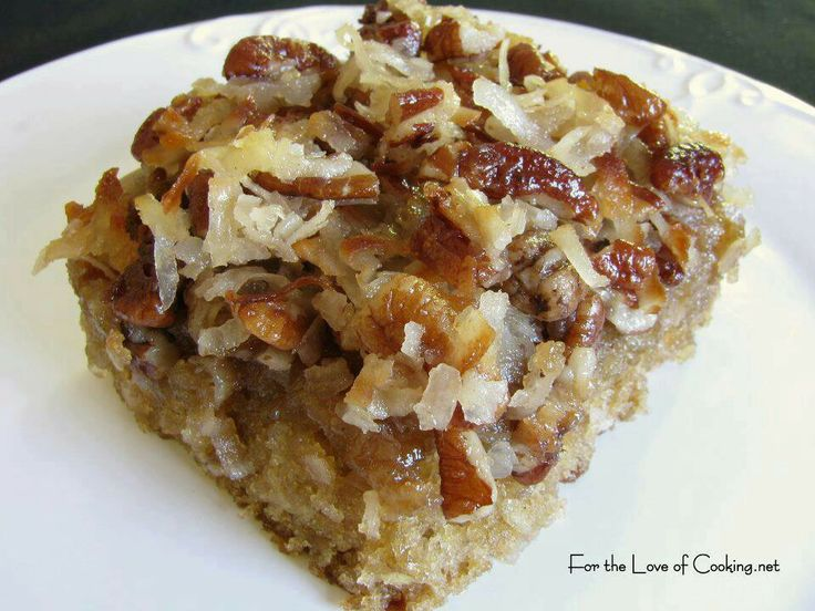 Oatmeal cake with coconut pecan frosting | Healthy food | Pinterest