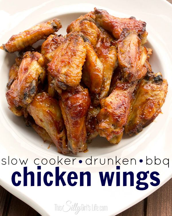 Slow Cooker Beer Bbq Chicken Wings + Football Party Spread! #football #diy #party #beer