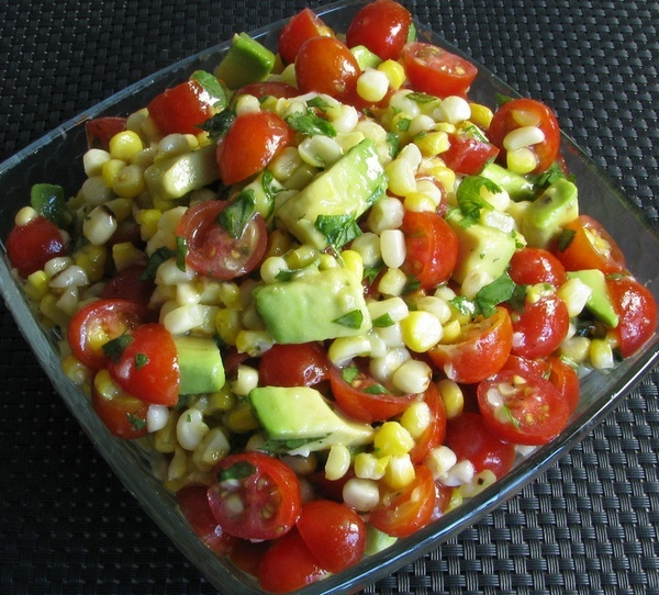Avocado corn tomato salad with honey lime dressing