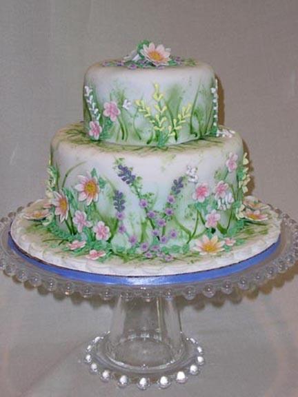Love this flower garden cake dream wedding pinterest for Garden wedding cake designs