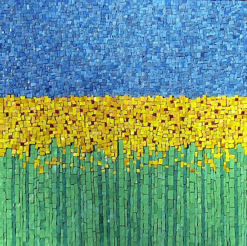 Flower mosaic mosaics pinterest for Mosaic painting meaning