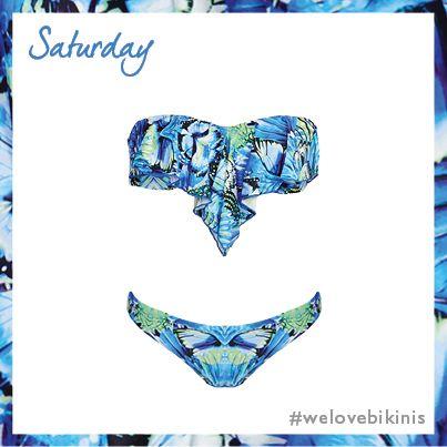 Seafolly Take Flight Cascade Bandeau Bikini Top Set in China Blue #BikiniOfTheDay #Saturday #figleaves