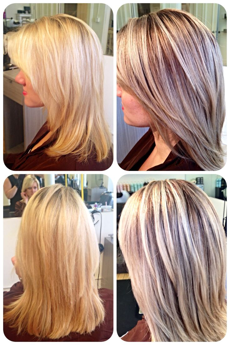 Before and after bleach blonde to painted highlights and lowlights ...