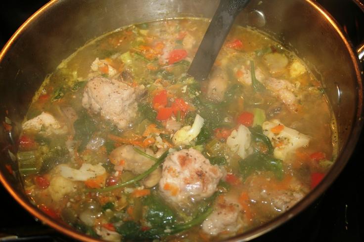15 minute vegetable soup with 0 fat turkey dumplings