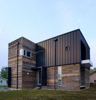 Metal standing seam with wood siding home exterior for Steel siding that looks like wood