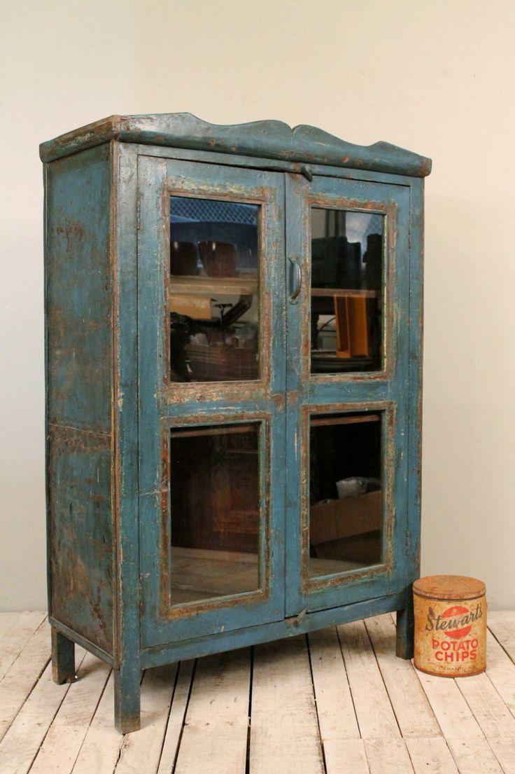 Vintage Distressed Dark Blue Paint Rustic Glass Storage Kitchen Bathr
