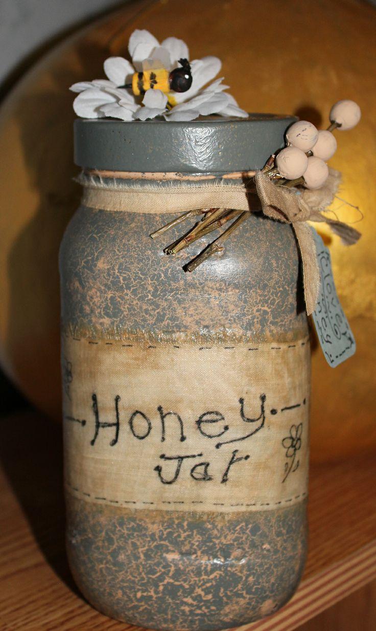 Crackle Painted Honey Jar | My Primitive Crafts | Pinterest