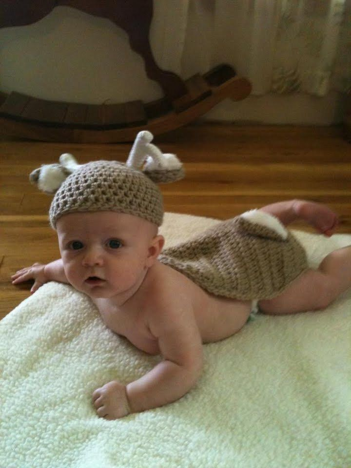 Crochet Pattern For Baby Deer Hat : White Tail Deer Newborn Hat & Cape Set Crochet Pattern