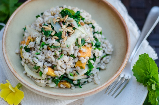 Pearl Barley with Roasted Sweet Potatoes and Jack-By-The-Hedge