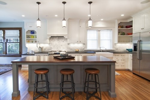 Dark grey island love Darken the floors, different stools and add