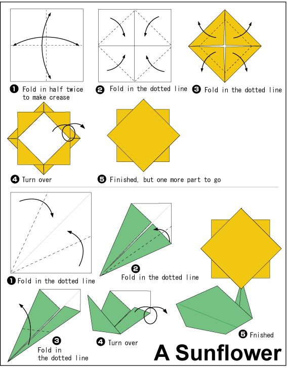 sunflower origami easy to do crafts pinterest