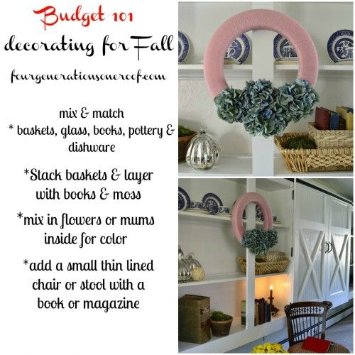 Fall budget decorating tips & pink and blue hydrangea wreath via FourGenerationsOneRoof.com