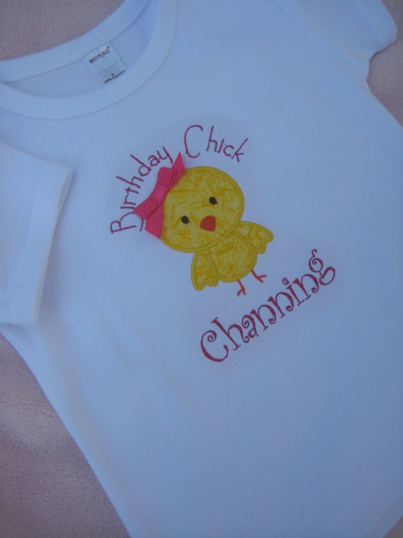 Personalized Birthday Chick Onesie or T-shirt $21.95 #chick #etsy #personalized #birthday #party