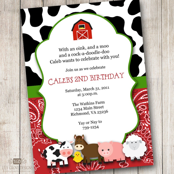 Barnyard 1 Birthday Invitations - Digital File - PRINT YOUR OWN. $10 ...
