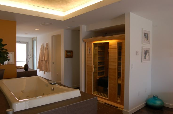 Sunlighten 39 s select far infrared sauna in a custom for Master bathroom with sauna