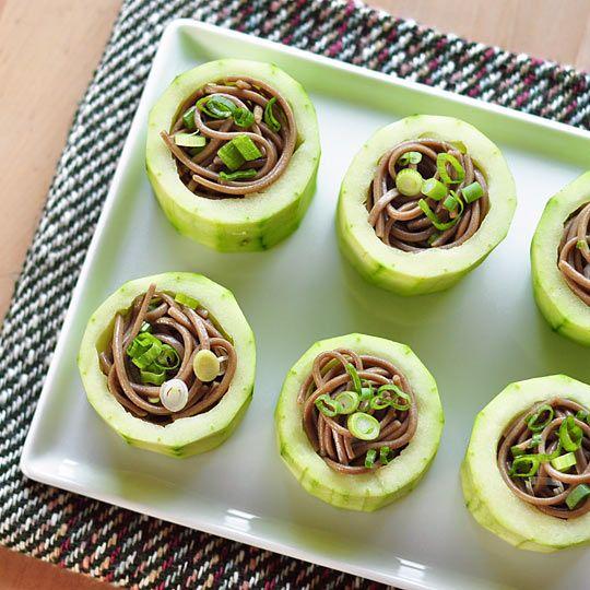Appetizer Recipe: Chilled Soba in Cucumber Cups