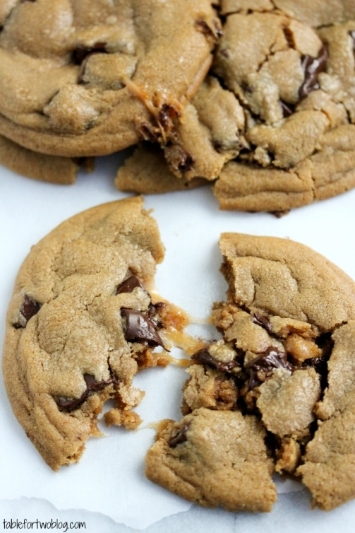 Caramel Stuffed Chocolate Chunk Cookies » Table for Two