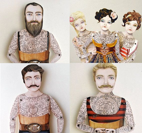 Victorian Tattooed Bearded Man Paper Puppet by crankbunny on Etsy, $20.00