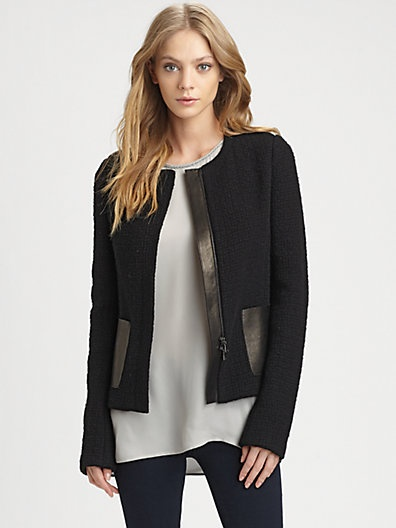Vince - Leather-Trim Jacket - Saks.com | i want to sew my clothes | P