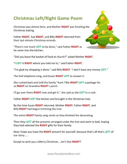 Printable left right christmas game poem class activities pintere