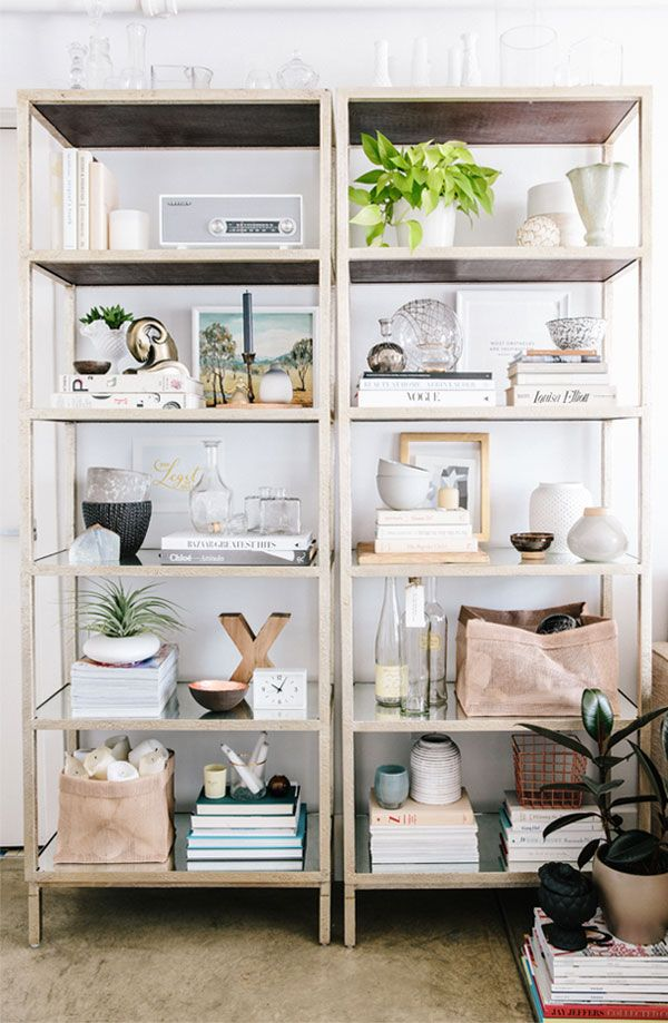 Styled bookcases.