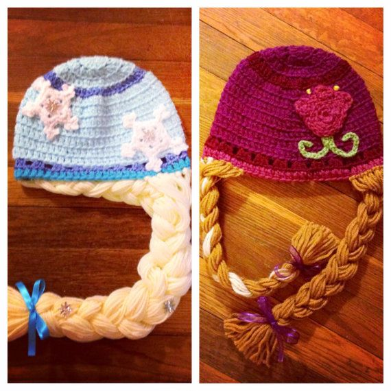Knitting Pattern For Frozen Hat : Elsa and Anna frozen inspired hat- any size