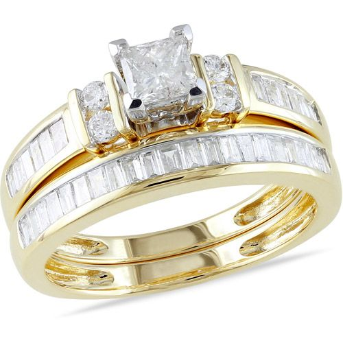 Miabella 1 Carat T W Princess Cut Diamond Engagement Ring in 14kt Ye…