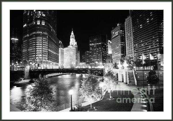 Chicago River Buildings At Night In Black And White Framed Print By P