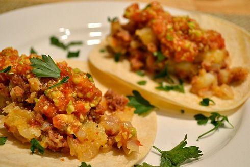 Potato Chorizo Tacos with Avocado Salsa | Recipe