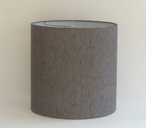 small modern gray linen drum lampshade. Black Bedroom Furniture Sets. Home Design Ideas