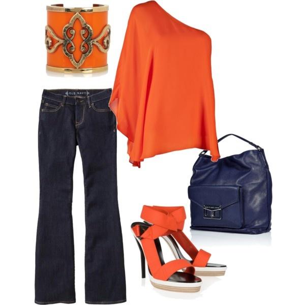 Summer Chic - Orange, created by Meeta K Wolff. Having fun creating a few looks on Polyvore!