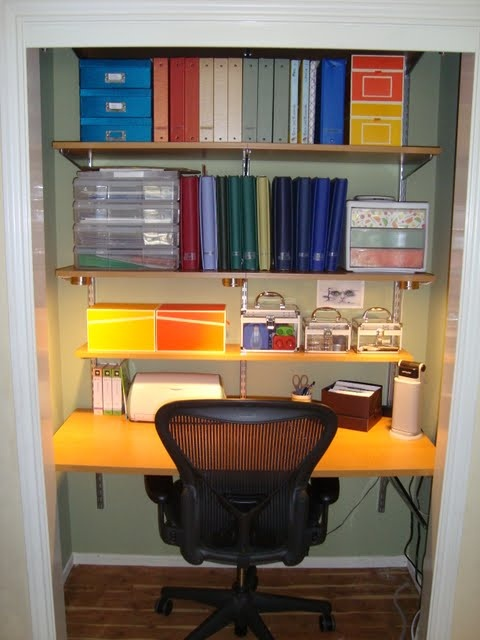 Closet Converted To Crafting Space Using Elfa Shelving System