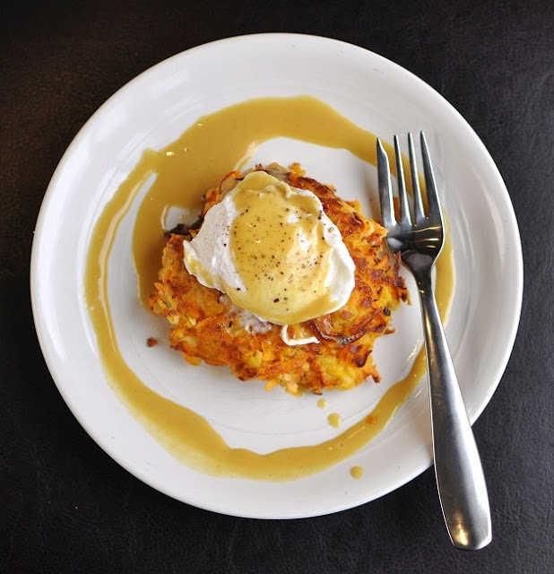 Apple & Sweet Potato Cakes with Poached Egg and Sweet Mustard Sauce. # ...